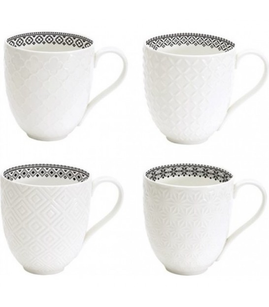 Set de 4 Mugs en Porcelaine Blanc