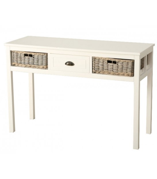 Console Table White Wood 3 Drawers