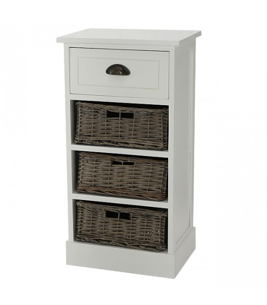 Nightstand Wood White 4 Drawers