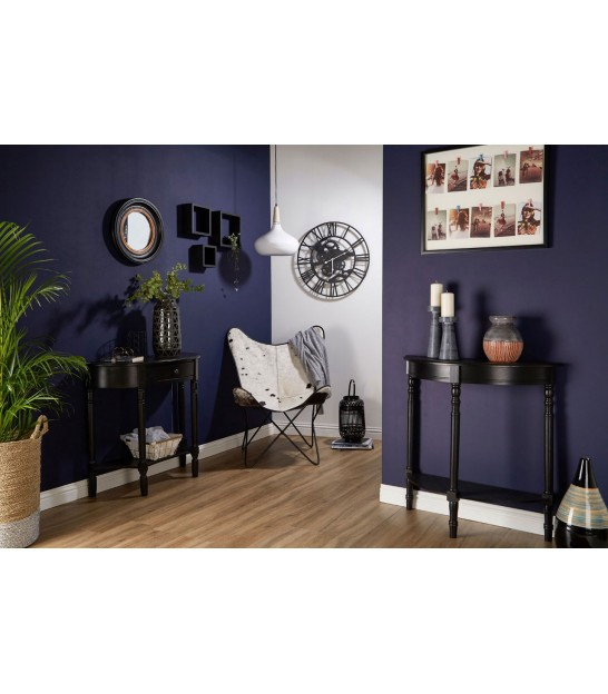 Console Table Black Wood half-moon