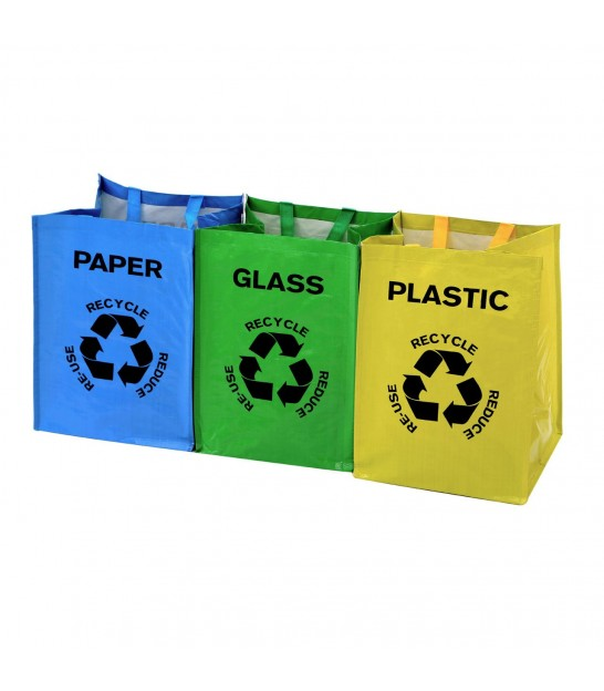 Set of 3 Recycle Logo Bags for Plastic, Glass and Paper