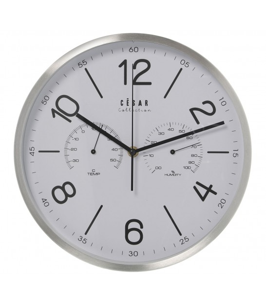 Silver Metal Round Wall Clock with Thermometer and Hygrometer