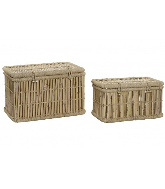 Set of 2 Storage Trunks Rattan