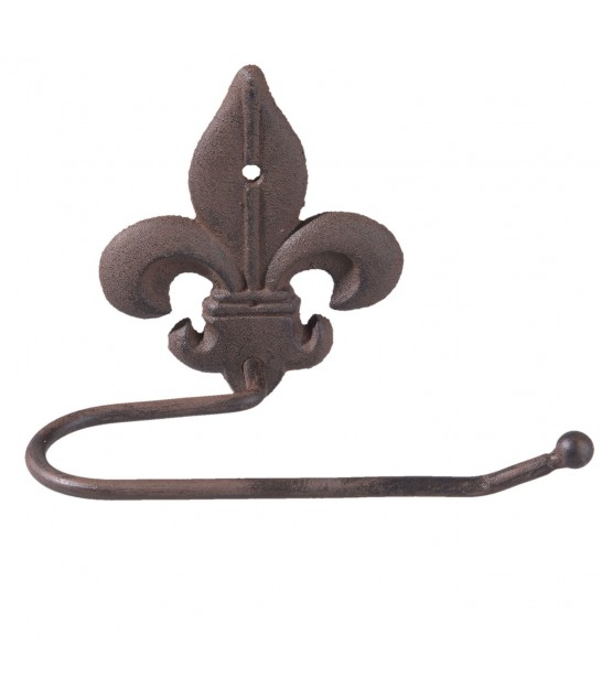 Wall WC Paper Holder Brown Iron Lily Flower