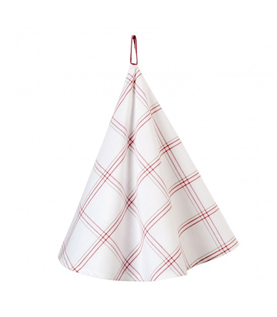 Classical Round Tea Towel 100% Cotton Red Stripes