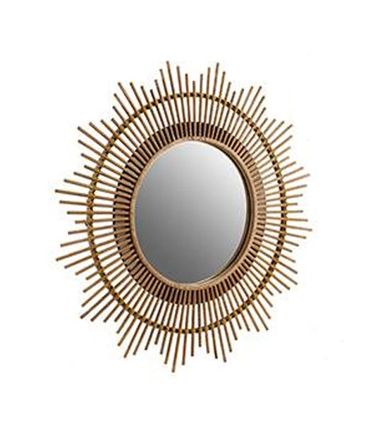 Suspended Wall Mirror Golden Metal Round with Rope