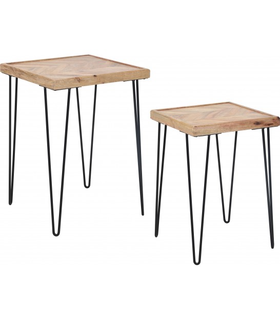 Set of 2 Wood and Metal Side Tables