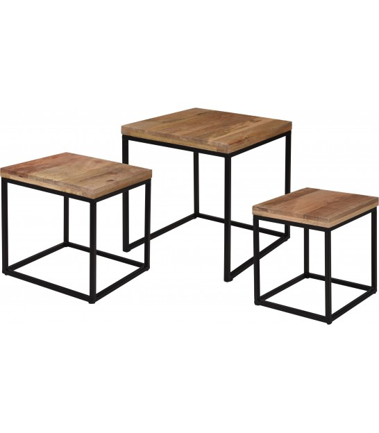 Set of 3 Wood and Metal Side Tables