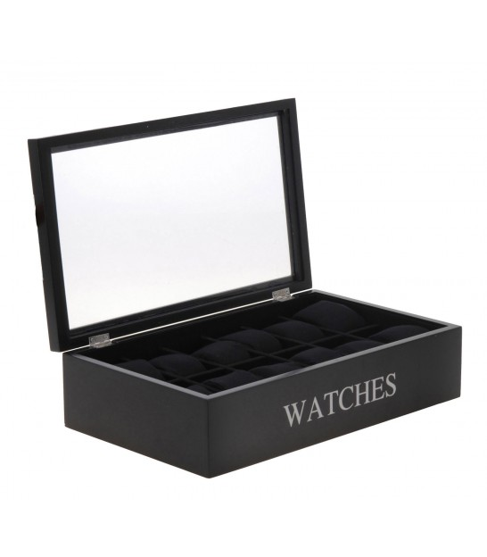 Black Wooden Storage Box For 12 Watches