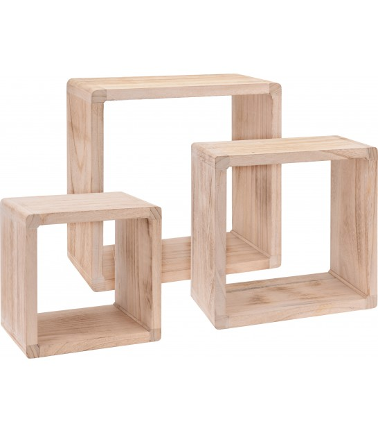 Set of 3 Wall Wood Shelves