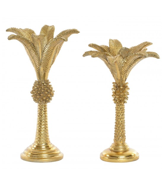 Set of 2 Candle Holders Wood - Height 23cm