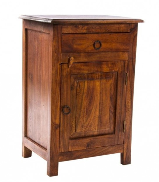 Night Stand Acacia Wood 3 Drawers