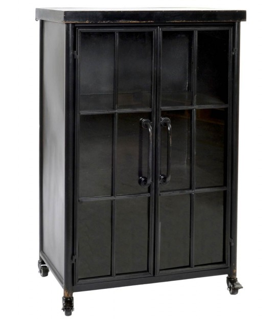 Display Cabinet Black Metal and Glass