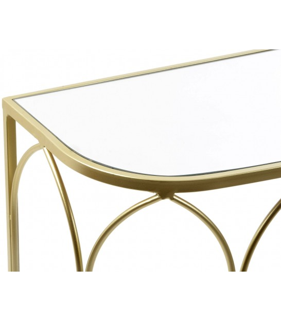Set of 2 Console Tables Golden Metal and Mirror