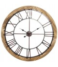 Wall Clock Wood and Black Metal - 91.5cm