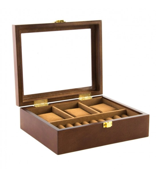 Wooden Storage Box For 3 Watches