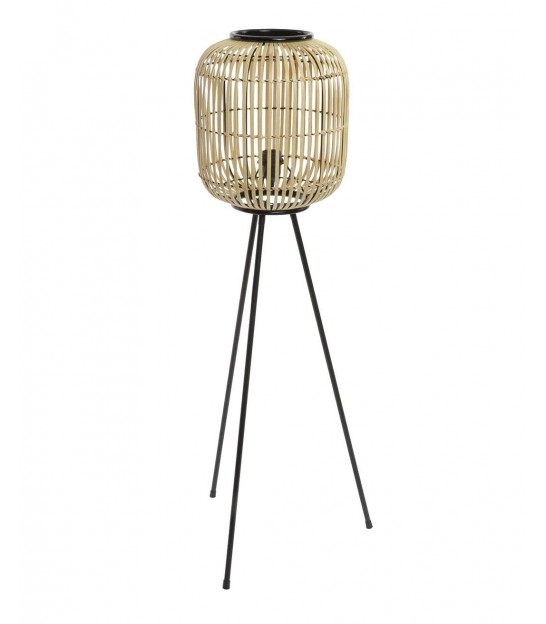 Floor Lamp Bamboo and Black Metal