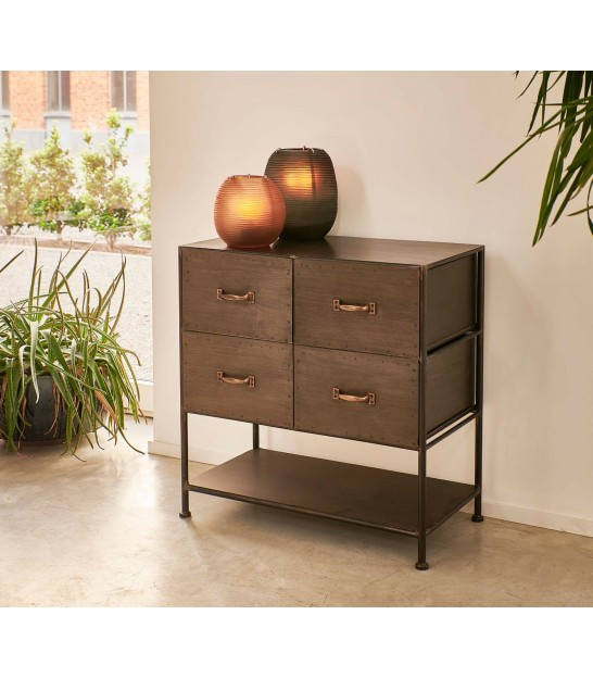 Chest of Drawers Black Metal Industrial Style