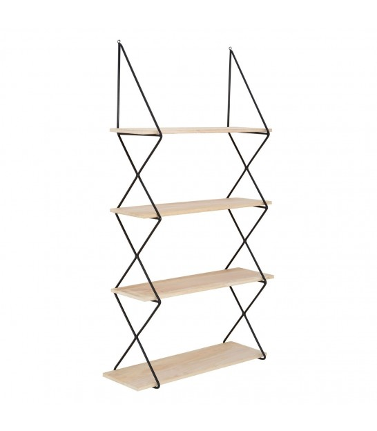 Wall Shelf Black Metal and Wood 2 Shelves