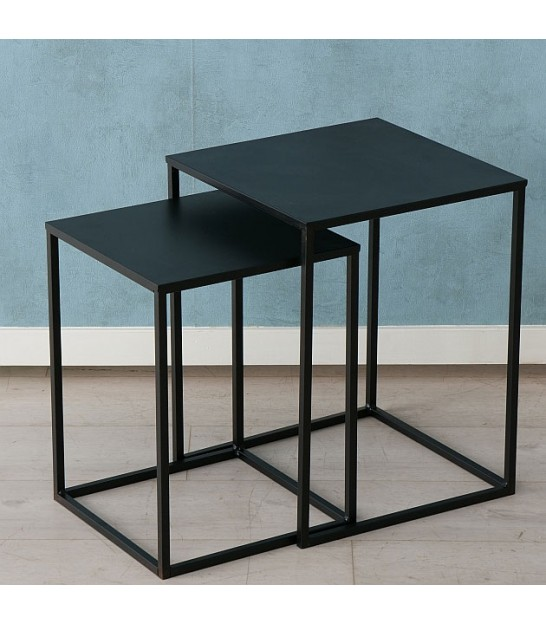 Set of 2 Black Metal Nesting Tables