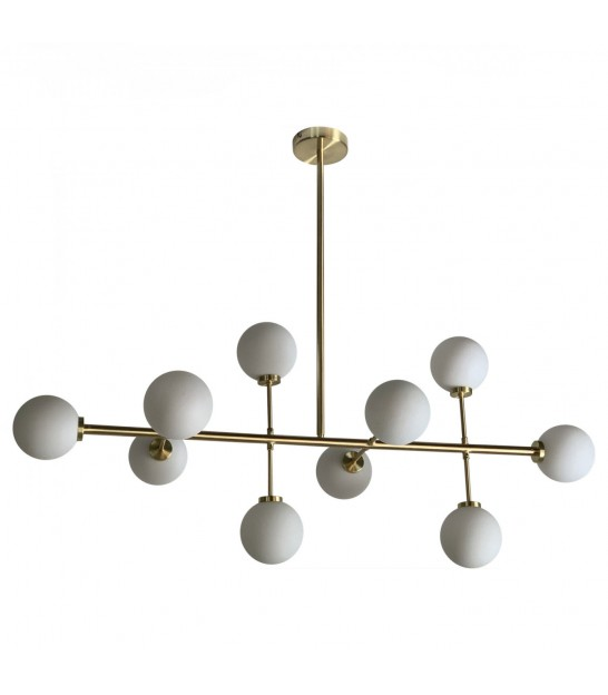 Ceiling Lamp Goden Metal and White Glass - 10 Globes