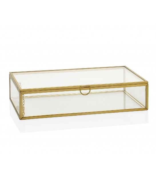 Jewelery Box Golden Metal and Glass - 15x15x7.5cm