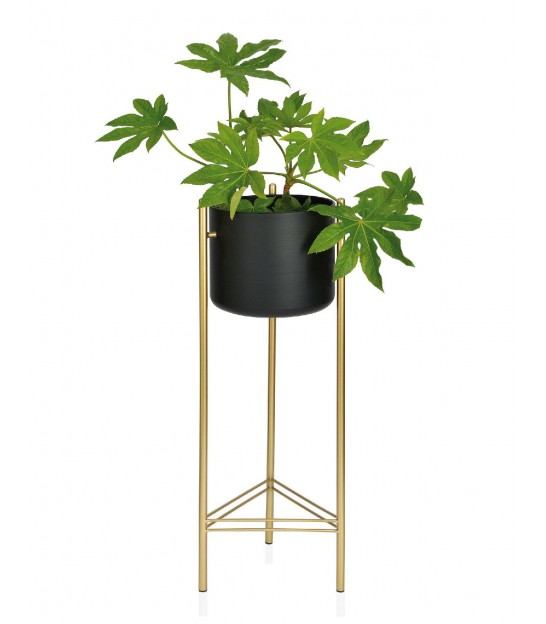 Plant Stand Black and Gold Metal - Height 80cm