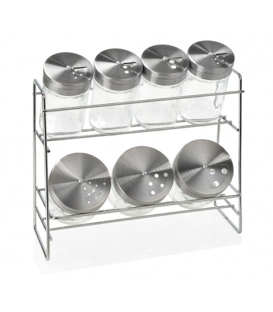 Chrome Metal Spice Shelf with 6 Glass Jars