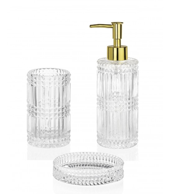 Soap Dispenser Glass Transparent and Golden Metal Diamond