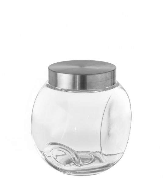 Kitchen Glass Jar Inox Lid - H16cm