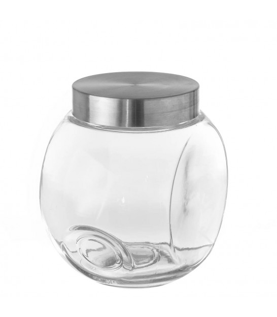Kitchen Glass Jar Inox Lid - H17.3cm