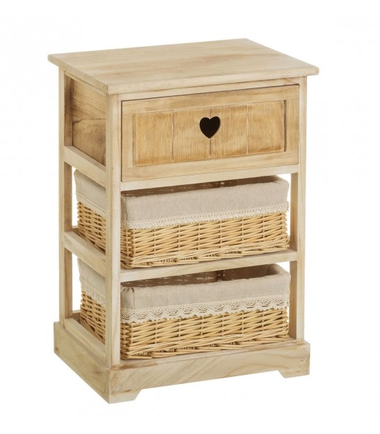 Nightstand Wood Country 1 Drawer + 2 Baskets
