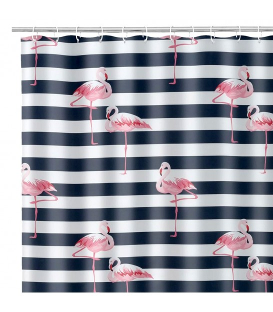 Shower Curtain Polyester Blue and White Flamingo 180x200cm