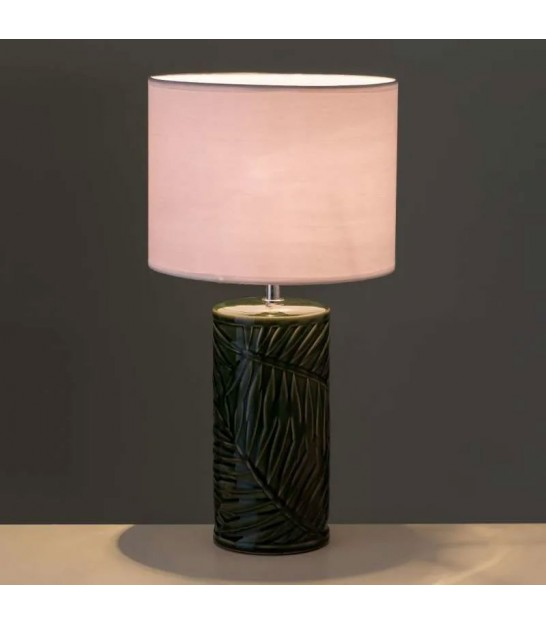 Table Lamp Green Ceramic and White