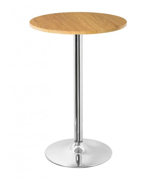 Design round bar table made of wood and chrome