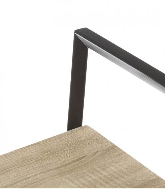Wood and Black Metal Shelf + 1 Drawer - Height 180cm