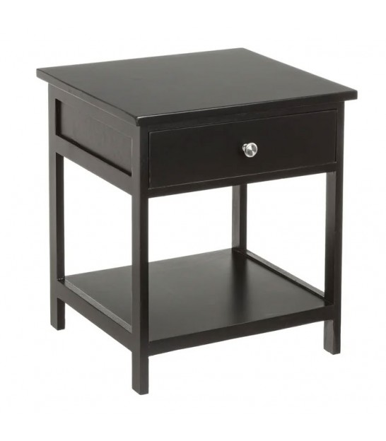 Wood and Black Metal Bedside Table