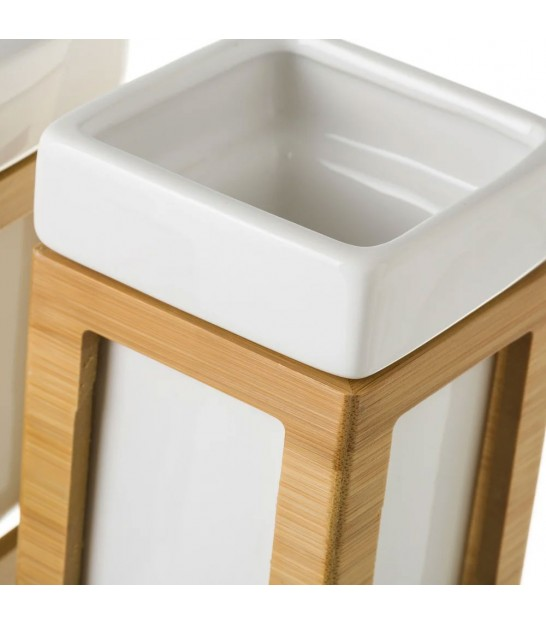 Bathroom Set - White and Gold Ceramic