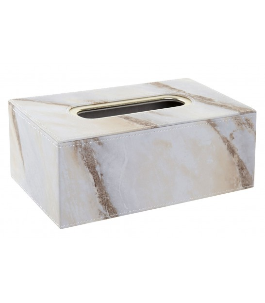 Tissue Box Fake Leather White Marble