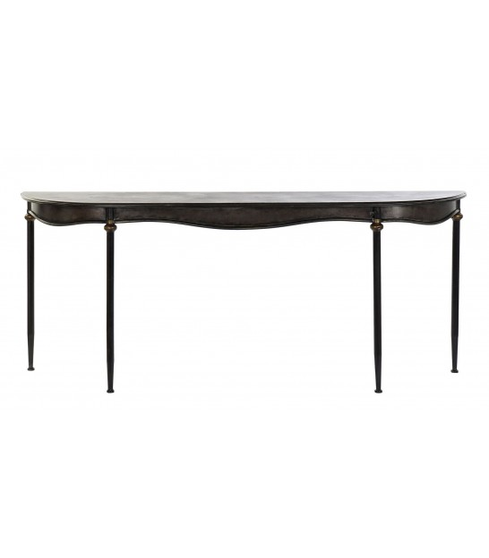 Console Table Black Metal 1 Drawer Half Moon