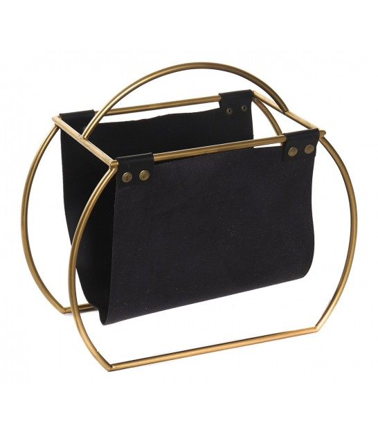Magazine Holder Gold Metal and Black Fake Leather