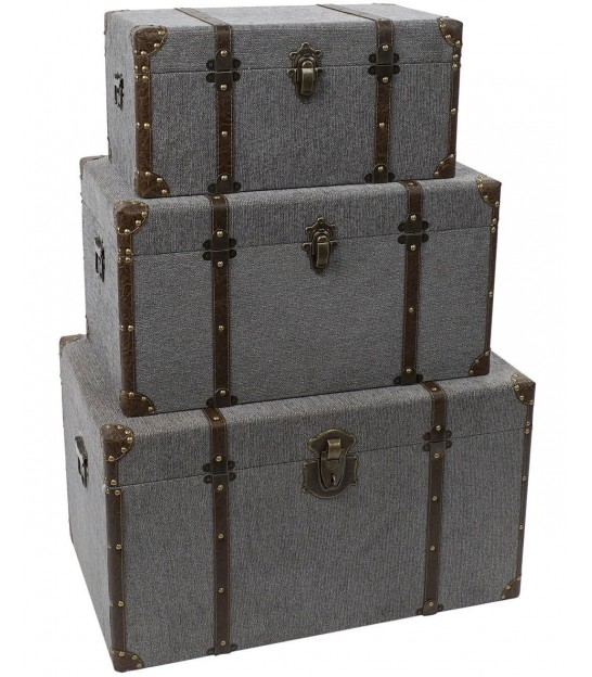 Set of 3 Storage Trunks Grey