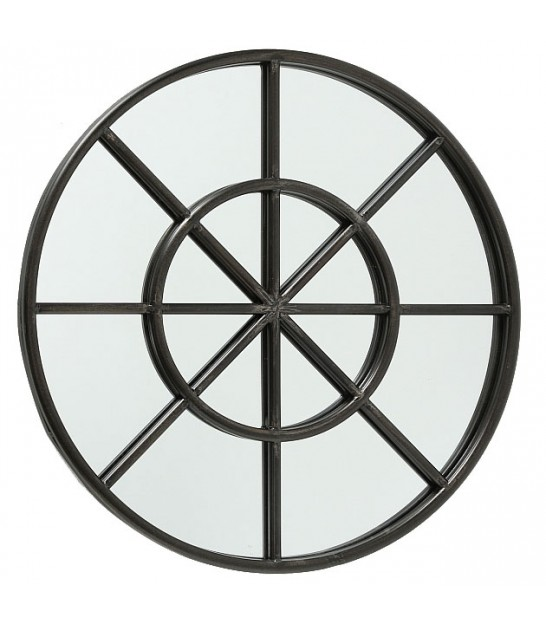 Wall Round Mirror Black Metal