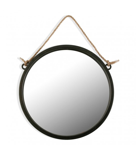 Suspended Wall Mirror Black and Silver Round