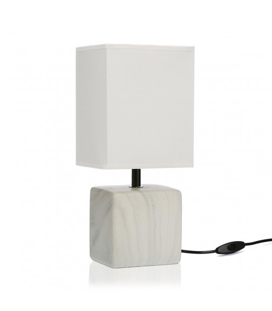 Table Lamp White Ceramic and White Lampshade
