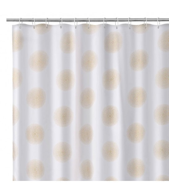Shower Curtain Polyester White and Gold 180x200cm