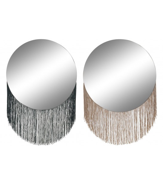 Set de 2 Miroirs Ronds à Franges