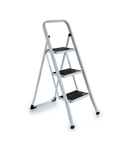 Metal 4 Steps Ladder White and Black Square Tube