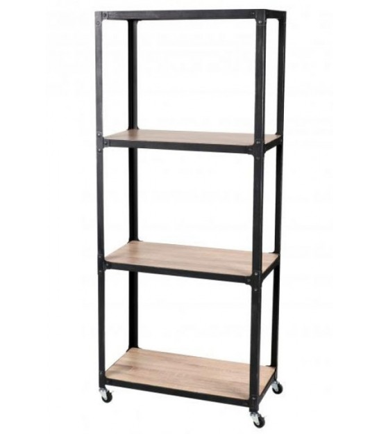 Wood and Black Metal Shelf - Height 178cm