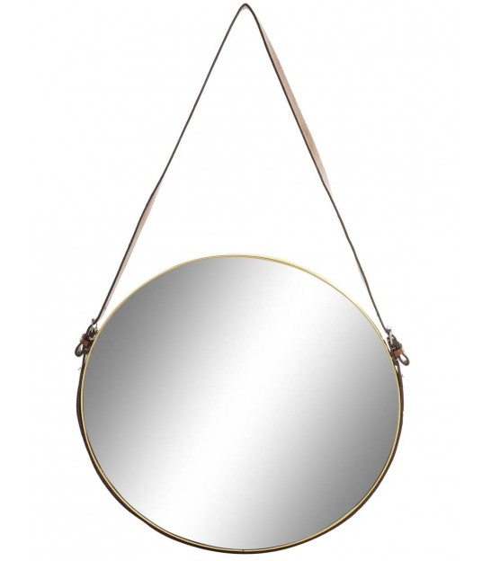 Round Golden Metal Wall Mirror